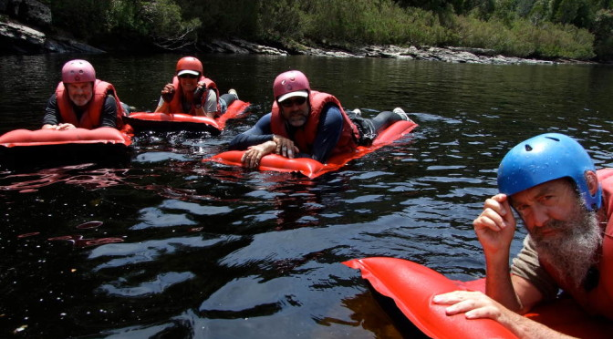 Happy rafters on airbeds aka 'lilos'. Photo M. Muller, Water by Nature Tasmania, Franklin River White Water Rafting