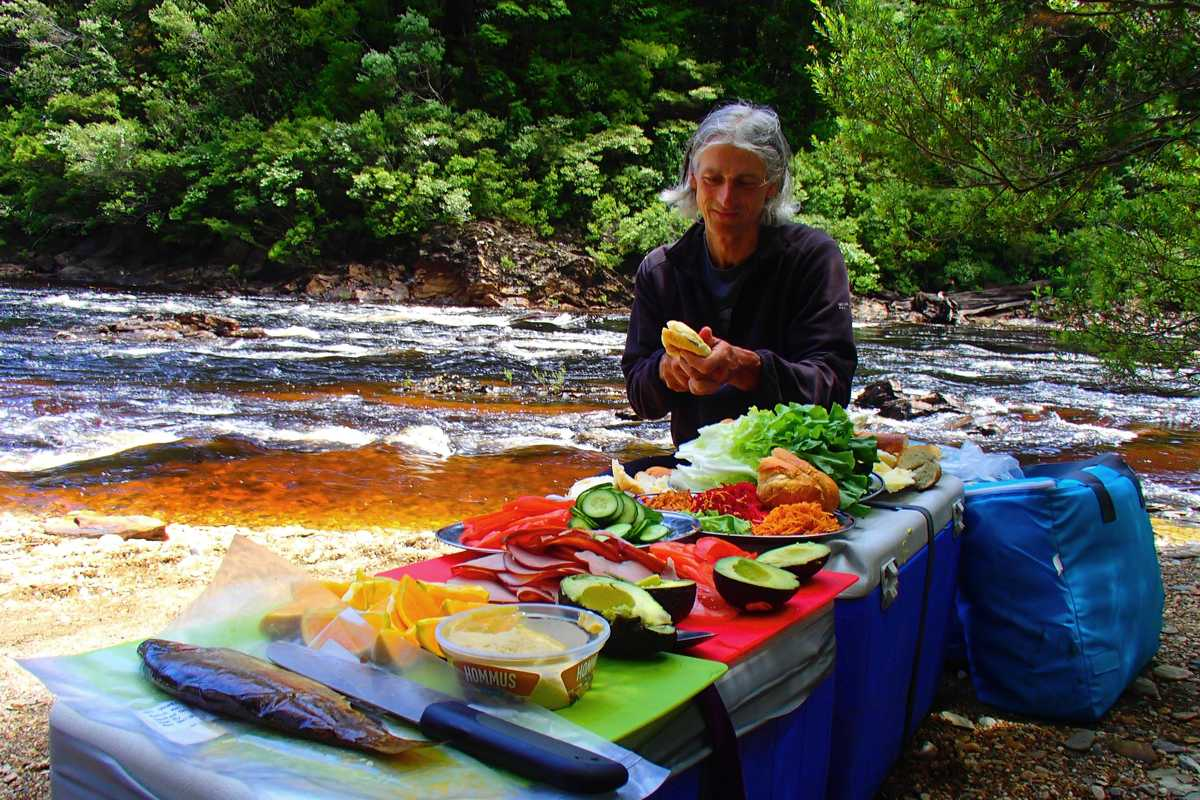 Lunch spread on a Franklin River trip