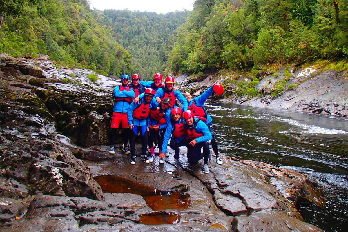 Group of rafters at Newland Cascades Franklin River Tasmania